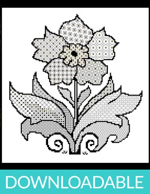 b9ae18ae438be Blackwork Flower with Cross Stitch (downloadable PDF): Nordic Needle